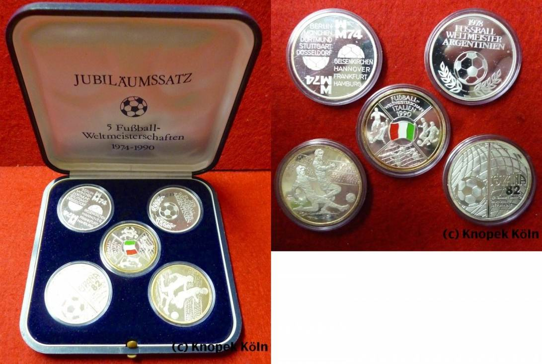 Set Mit 5 Silber Medaillen 1990 Brd Jubiläumssatz Fußball
