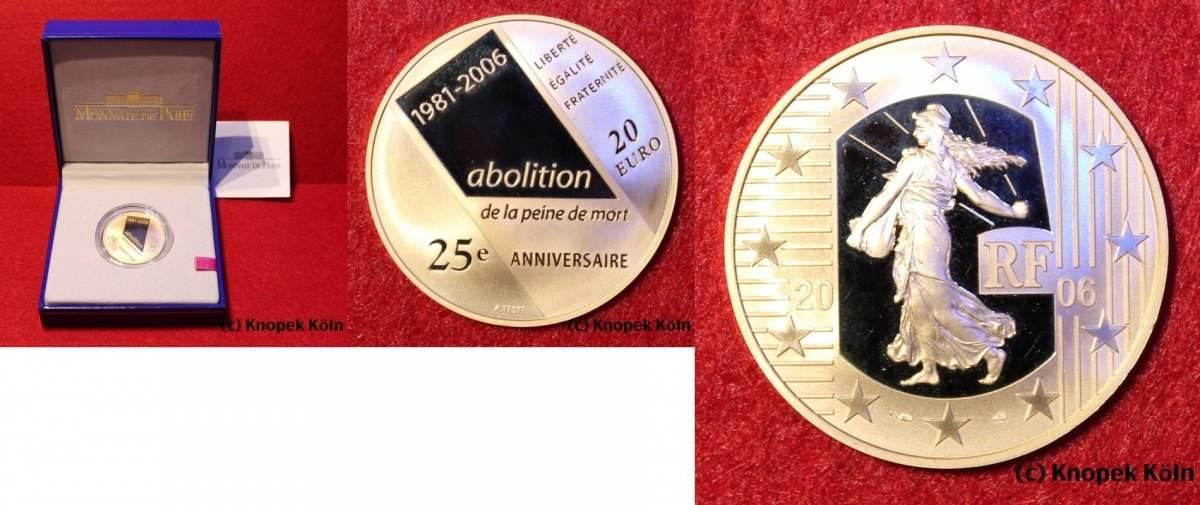 20 Euro Gold 2006 Frankreich France Abolition De La Peine De Mort