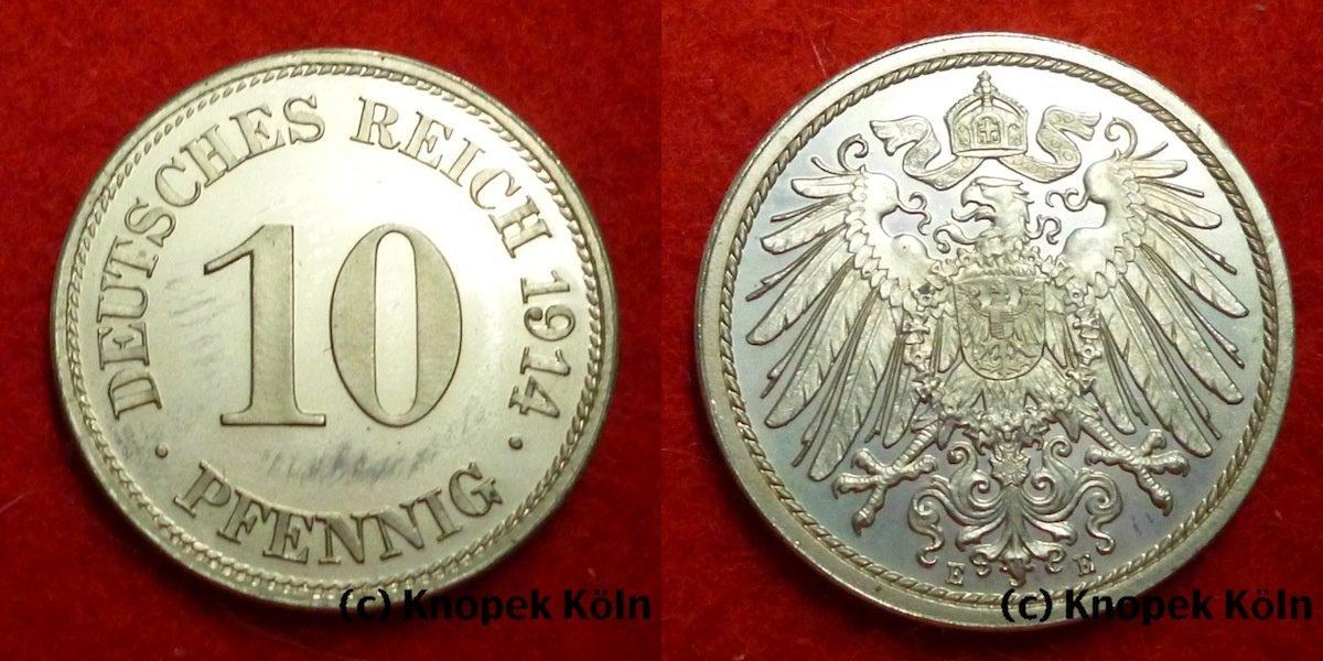 10 Pfennig 1914 E Deutsches Kaiserreich Selten Pp Ma Shops