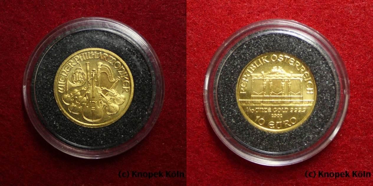10 Euro Gold 2002 österreich Wiener Philharmoniker 110 Unze Oz