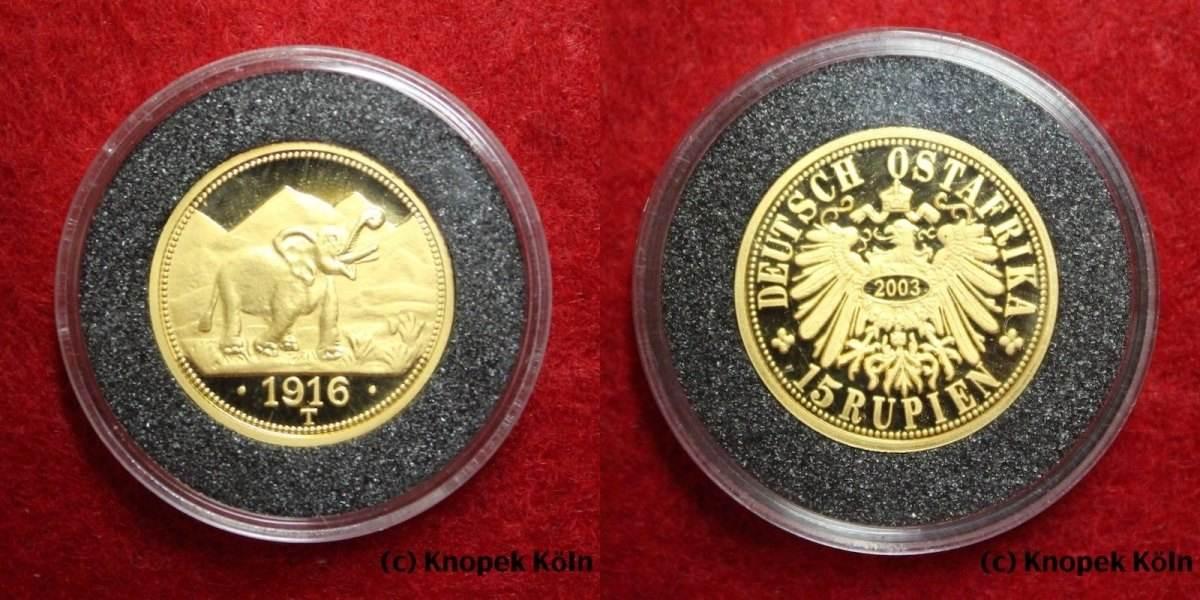 15 Rupien Gold 1916 T Deutsch Ostafrika Doa Deutsch Ost Afrika