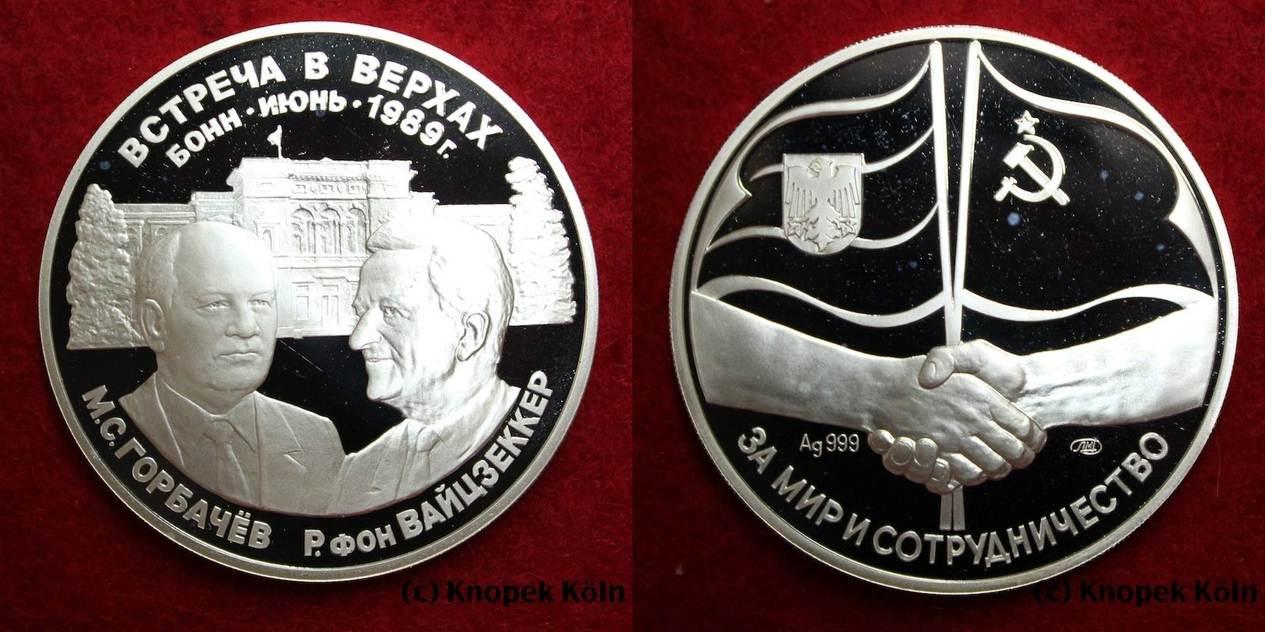 Silber Medaille 1989 Russlandudssr Ca 1 Unze Silber Gorbatschow