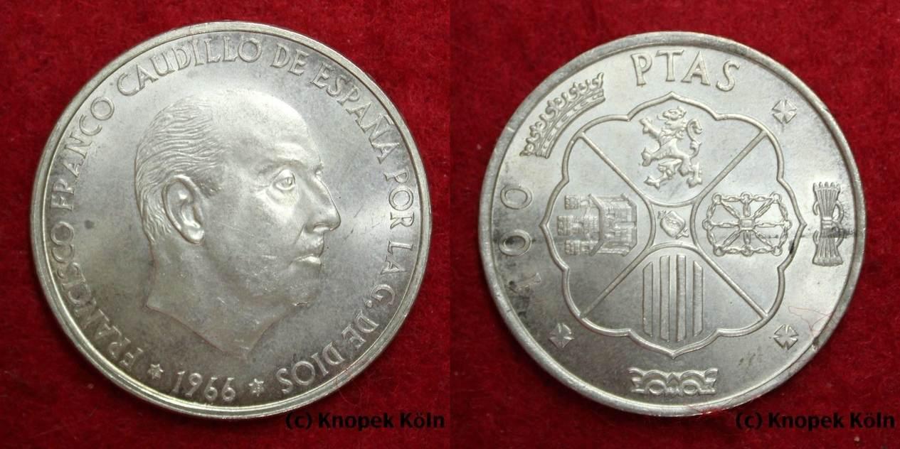 100 Pesetas 1969 Spanien Espagne 100 Pesetes 1966 69 En Argent