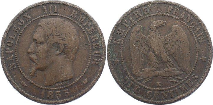 Cu 10 Centimes 1855 K Frankreich Napoleon Iii 1852 1870 Ttb Ma