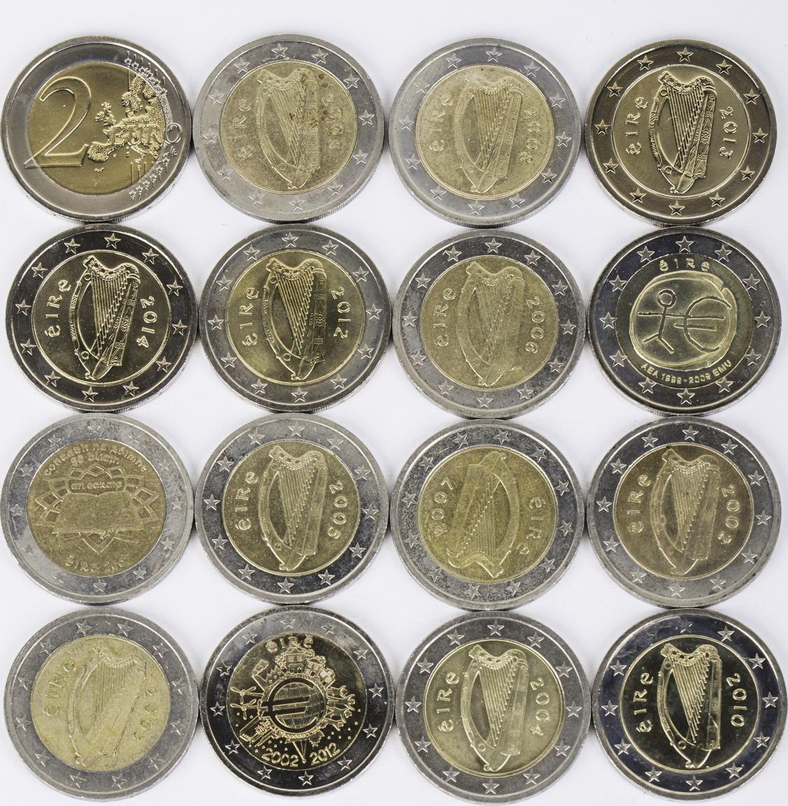 32 Euro 16 X 2 Euro 2002 2014 Irland Lot 2 Euro Münzen Irland