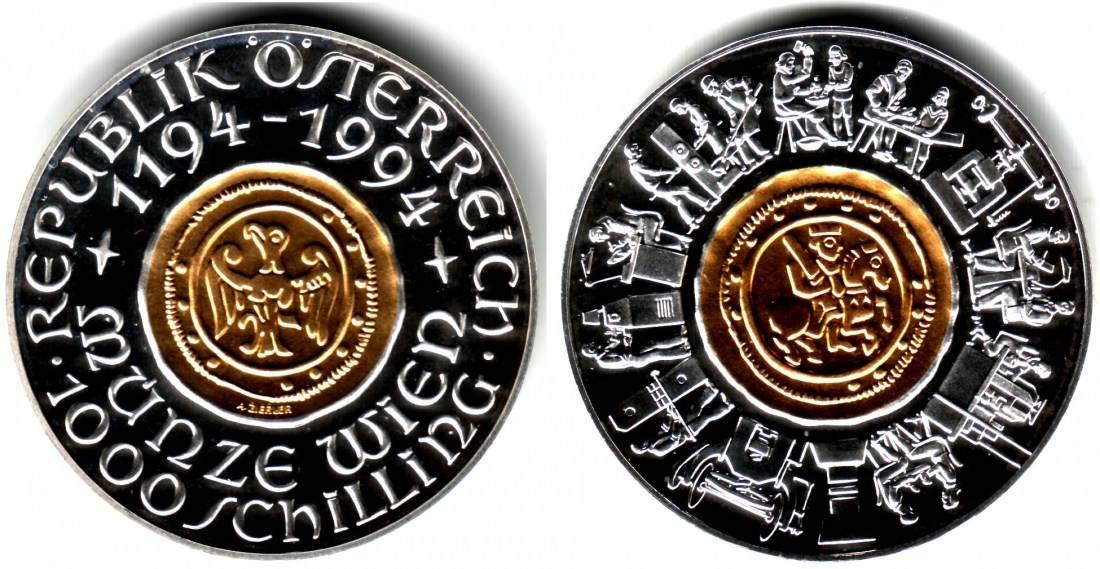 1000 Schilling 1994 österreich Gold Silber Münze 800 Jahre Münze