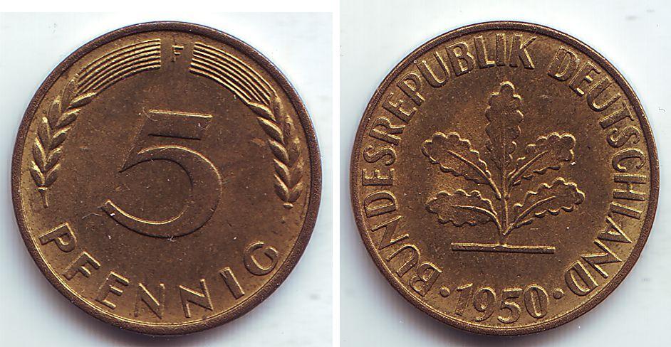 5 Pfennig 1950 F Deutschland 5 Pfennig Spl Ma Shops