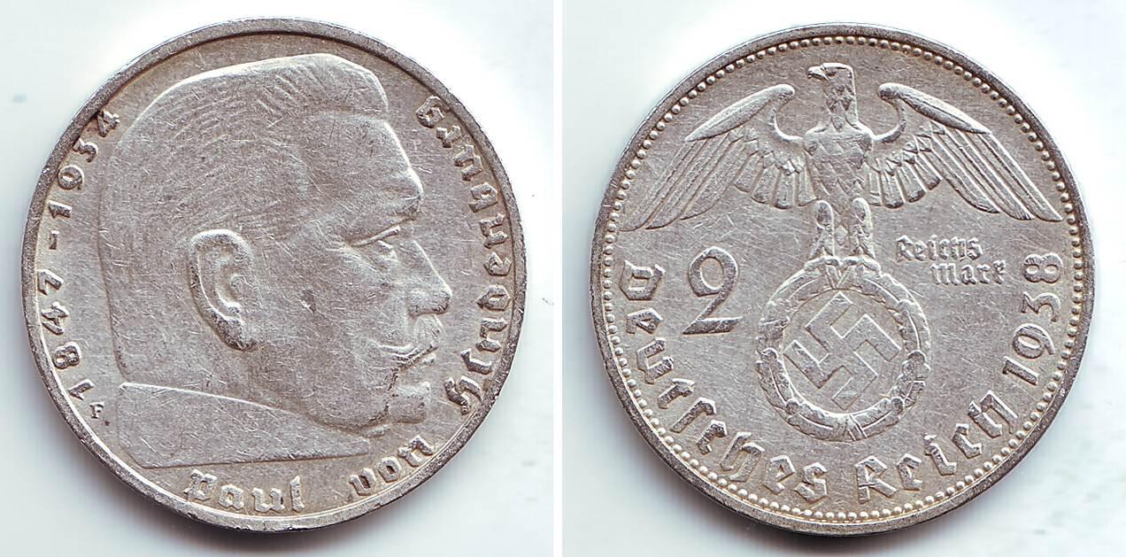 2 Reichmark 1938 F Deutsches Reich Paul Von Hindenburg F Spl Ma Shops