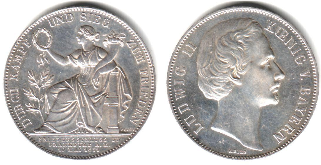 Taler 1871 Bayern Siegestaler König Ludwig Ii Von Bayern Sup