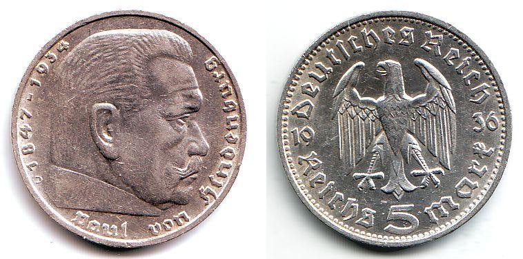 5 Reichsmark 1936 D Drittes Reich Paul Von Hindenburg Ohne