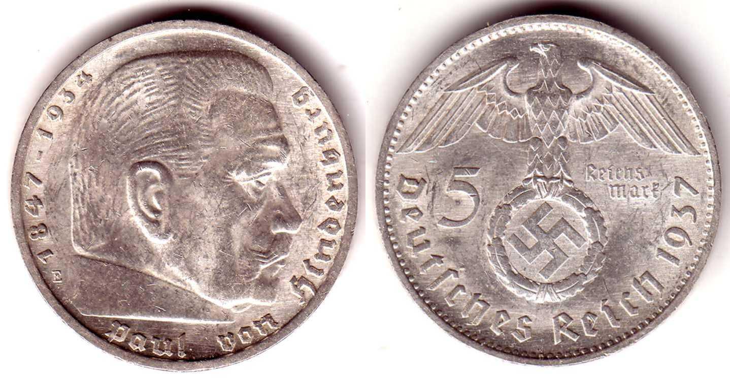 5 Reichsmark 1937 E Drittes Reich Paul Von Hindenburg Mit Hakenkreuz