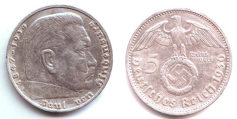 5 Reichsmark 1936 D Drittes Reich Paul Von Hindenburg Mit Hakenkreuz