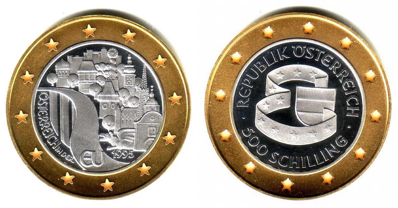 500 Schilling 1995 österreich Goldsilber Münze Eu Beitritt Fb In