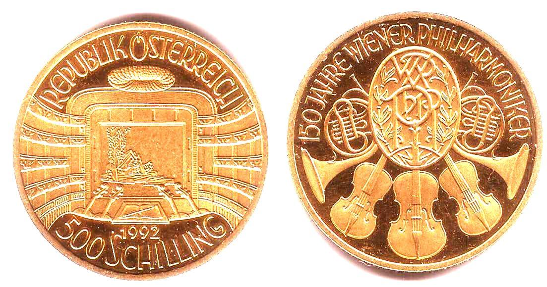 500 Schilling 1992 österreich 150 Jahre Wiener Philharmoniker