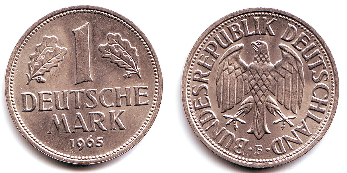 1 Mark 1965 F Deutschland Cn Münze 1 Deutsche Mark J 385 Fdc