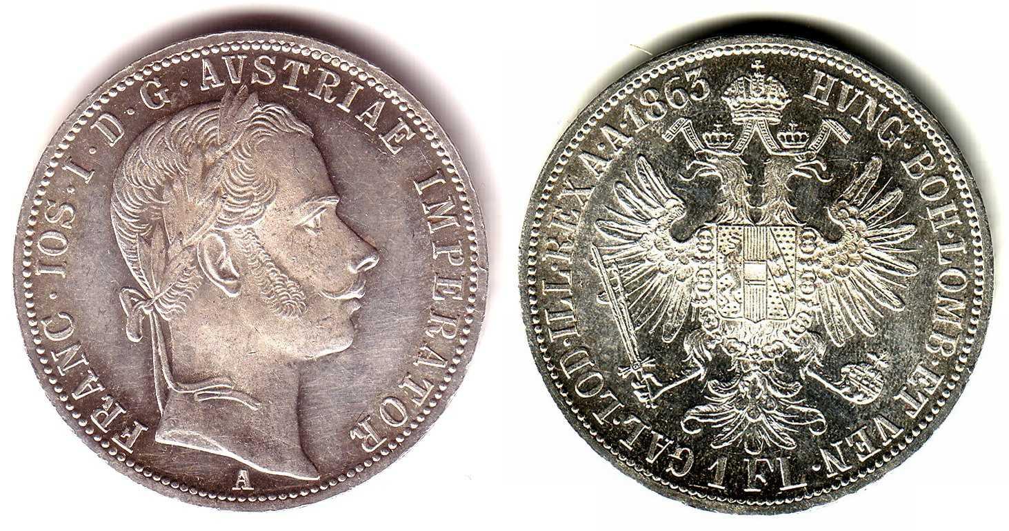 1 Gulden 1863 A österreich 1 Gulden Silbermünze Kaiser Franz