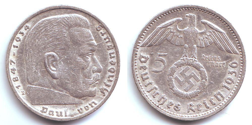 5 Reichsmark 1936 E Drittes Reich Paul Von Hindenburg Mit
