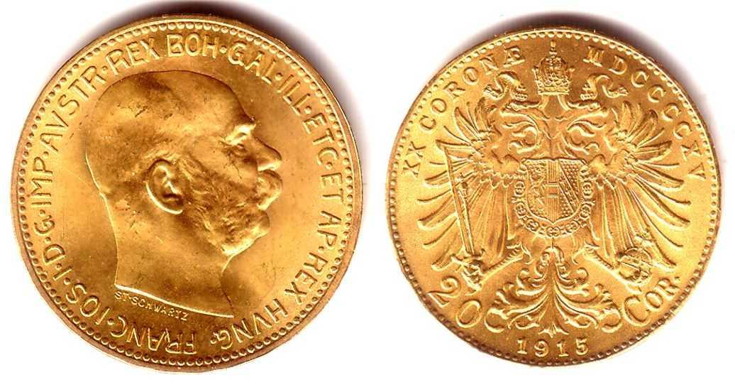 20 Kronen 1915 österreich Goldmünze Kaiser Franz Joseph I Fdc