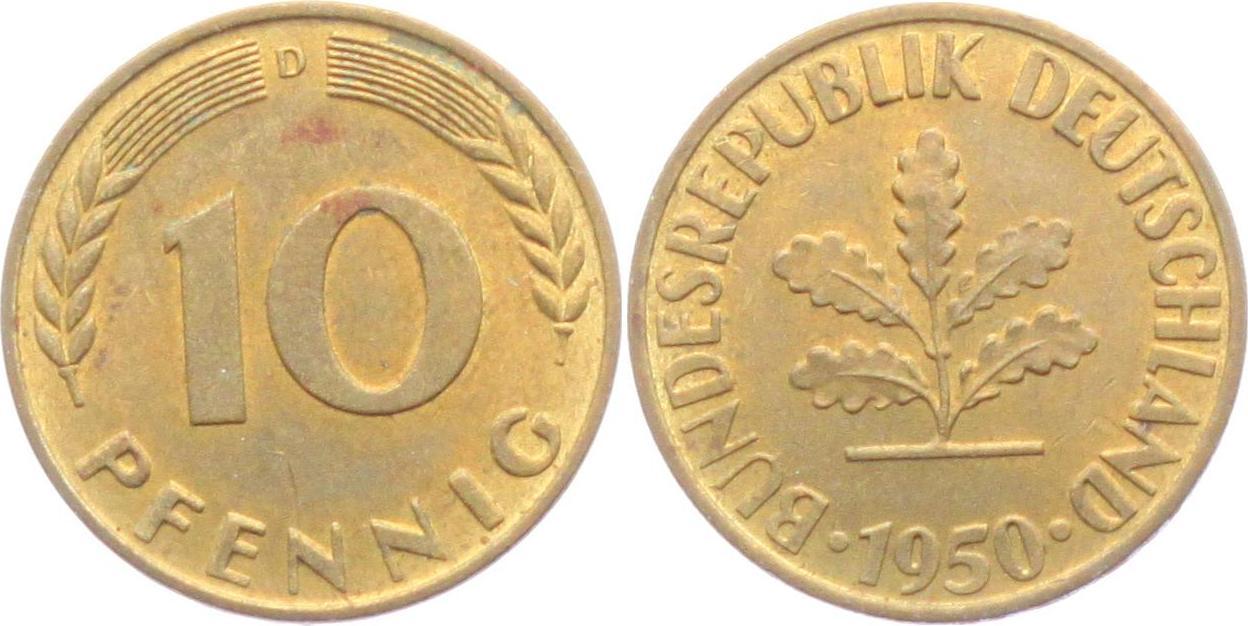 10 Pfennig 1950 D Brd Fdc Ma Shops