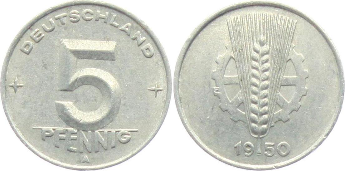 5 Pfennig 1950 A Ddr 5 Pfennig ähre Und Zahnrad Ttb Ma Shops