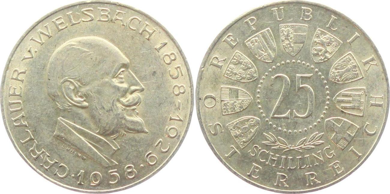 25 Schilling 1958 österreich Carl Auer Von Welsbach 1858 1929 Fdc