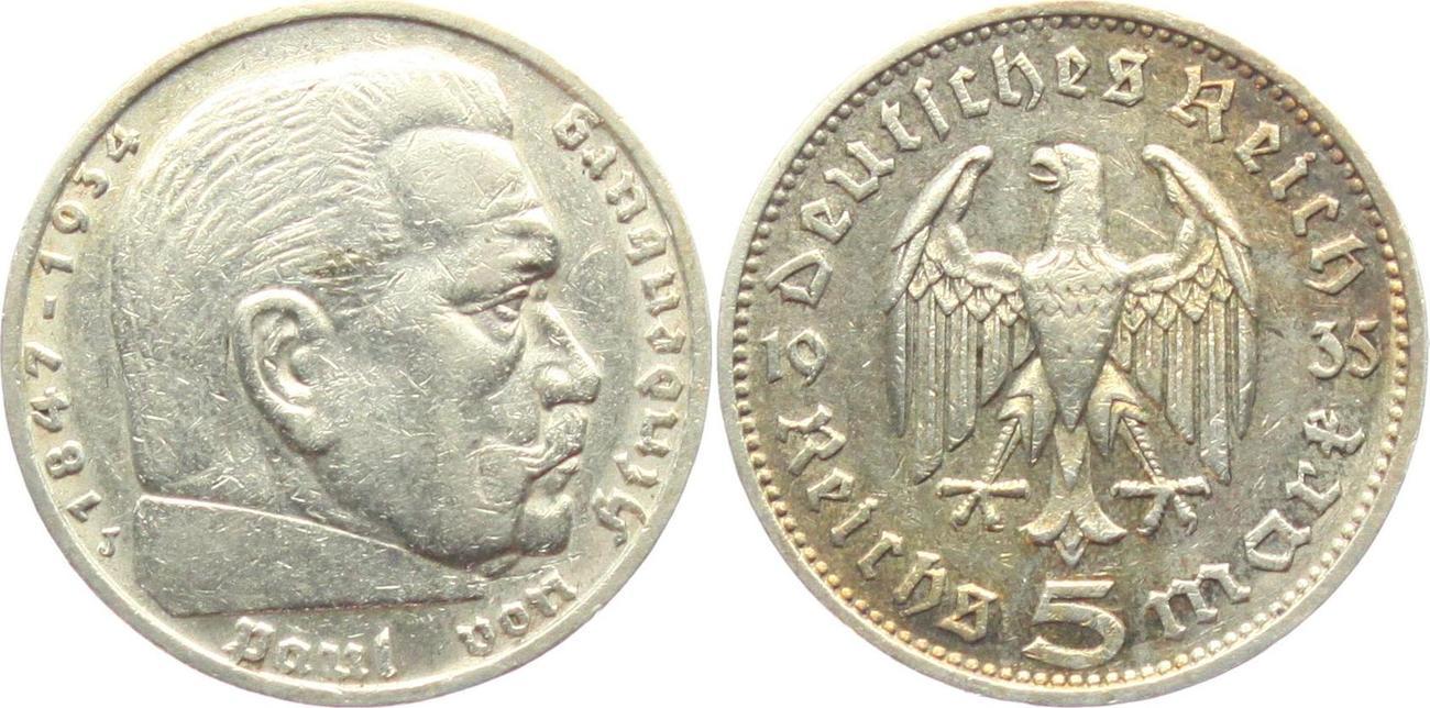 5 Reichsmark 1935 J Drittes Reich Paul Von Hindenburg Ohne