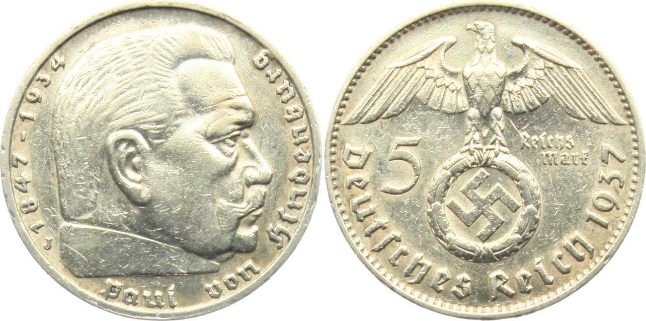 5 Reichsmark 1937 J Drittes Reich Paul Von Hindenburg Mit