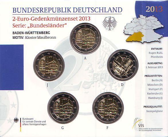 5 x 2 euro 2013 deutschland kursm nzen satz bundesl nder. Black Bedroom Furniture Sets. Home Design Ideas