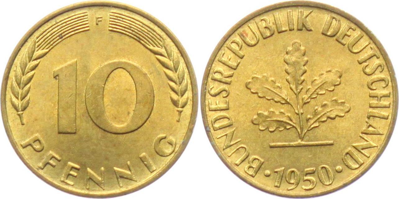 10 Pfennig 1950 F Deutschland Brd Bundesrepublik Deutschland