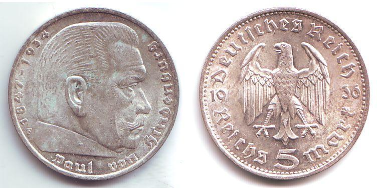 5 Mark 1936 F Drittes Reich Paul Von Hindenburg Mit Reichsadler Fdc