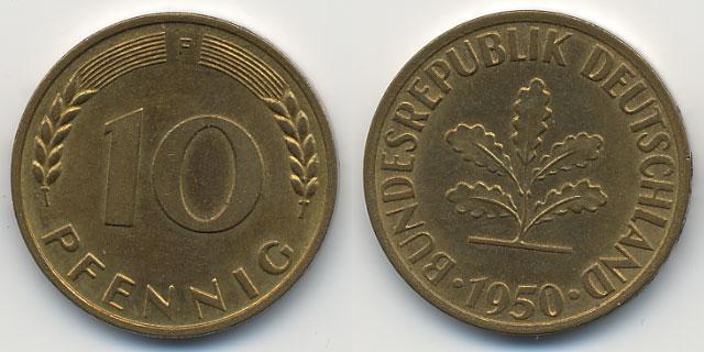 10 Pfennig 1950 F Brd Stahltombakplattiert Spl Fdc Ma Shops