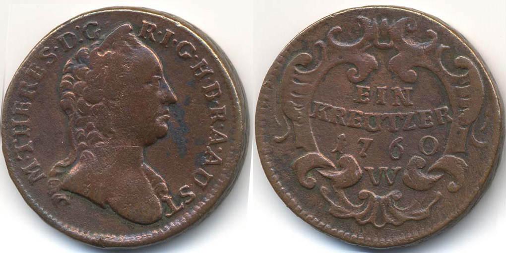 1 Kreuzer 1760 W Haus Habsburg Wien Maria Theresia 1740 1780 Ttb