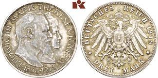 Bayern 3 Mark 1918. Fast Stempelglanz, herrliche P
