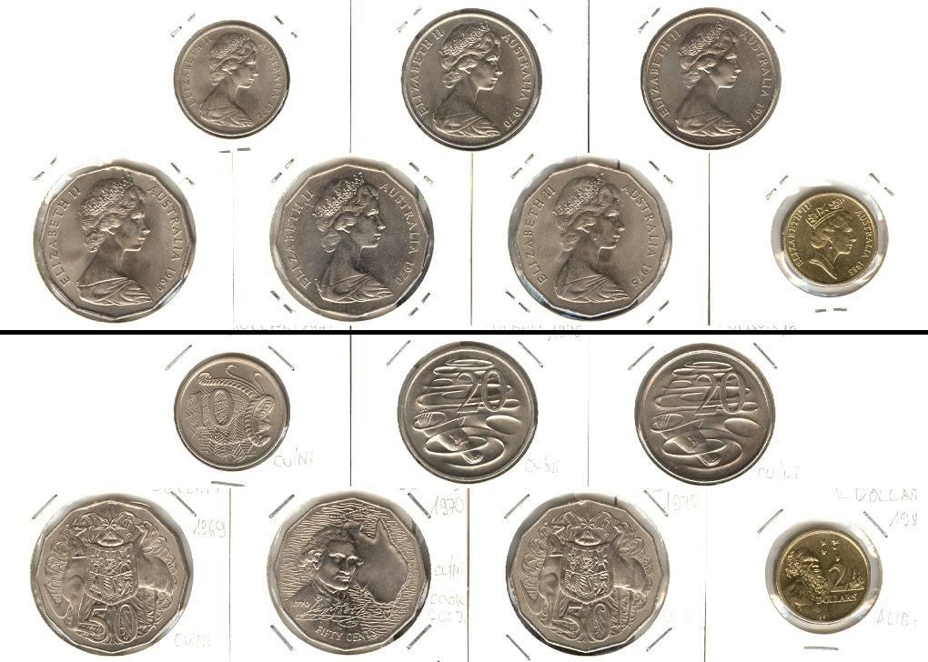 1969 1988 Australien Lot Australien 7x Münzen 10 20 50 Cents 2