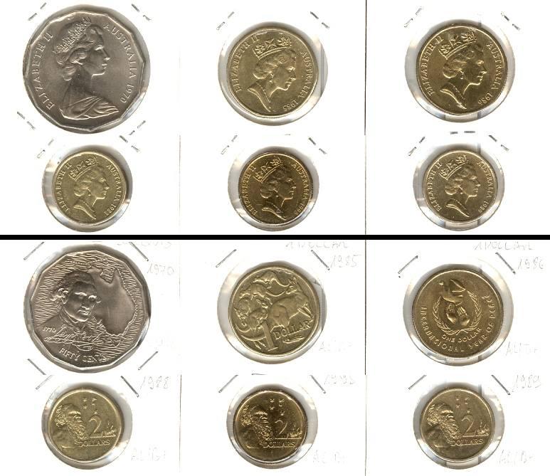 1970 1995 Australien Lot Australien 6x Münzen 50 Cents 1 2