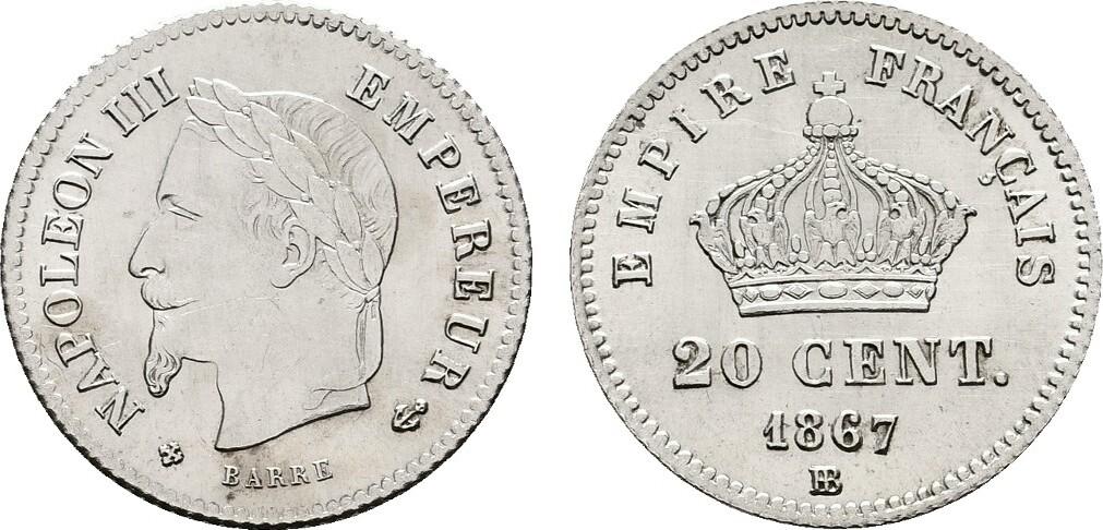 20 Centimes 1867 Bb Straßburg Frankreich Napoléon Iii 1852 1870