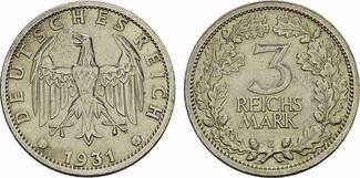 3 Reichsmark 1931 E. WEIMARER REPUBLIK  Vorzüglich