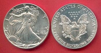 1 Dollar 1987 Usa American Eagle Bullion Coin 1 Ounce Pure Silver