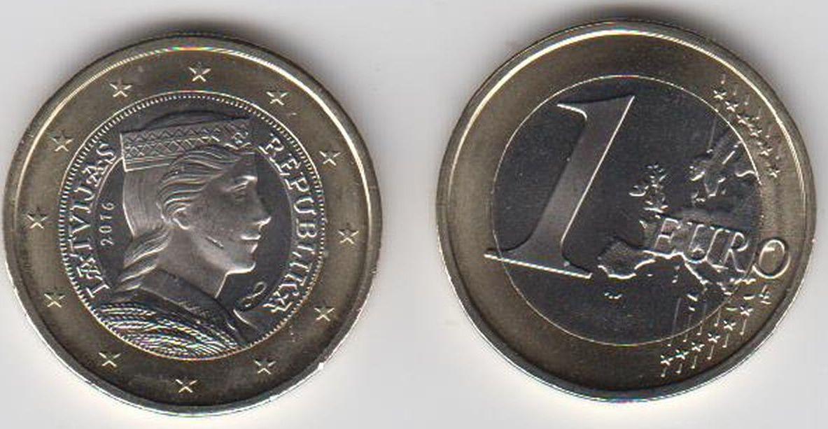 1 Euro 2016 Lettland Latvija Latvia Circulation Coin 1 Euro See