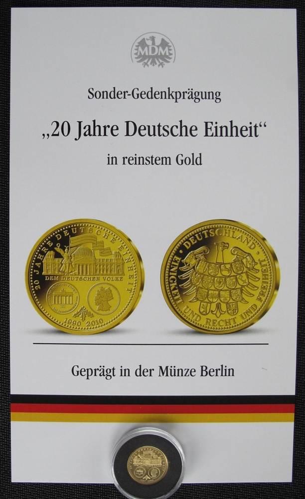 2010 Bundesrepublik Deutschland Mdm Sonderprägung In Gold 20 Jahre