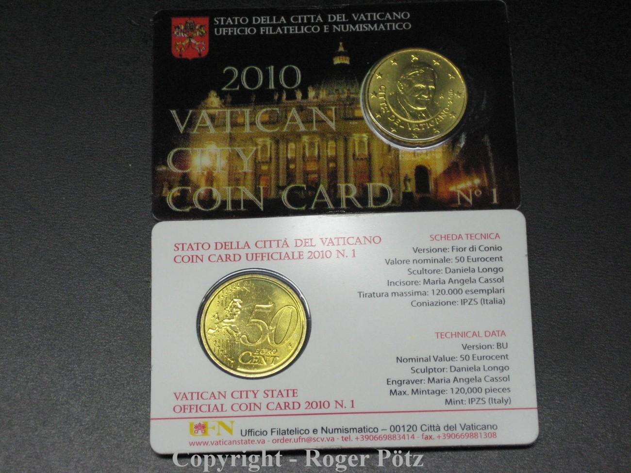 50 Cent 2010 Vatikan 50 Cent 2010 Coincard Nummer 1 Stempelglanz Bu
