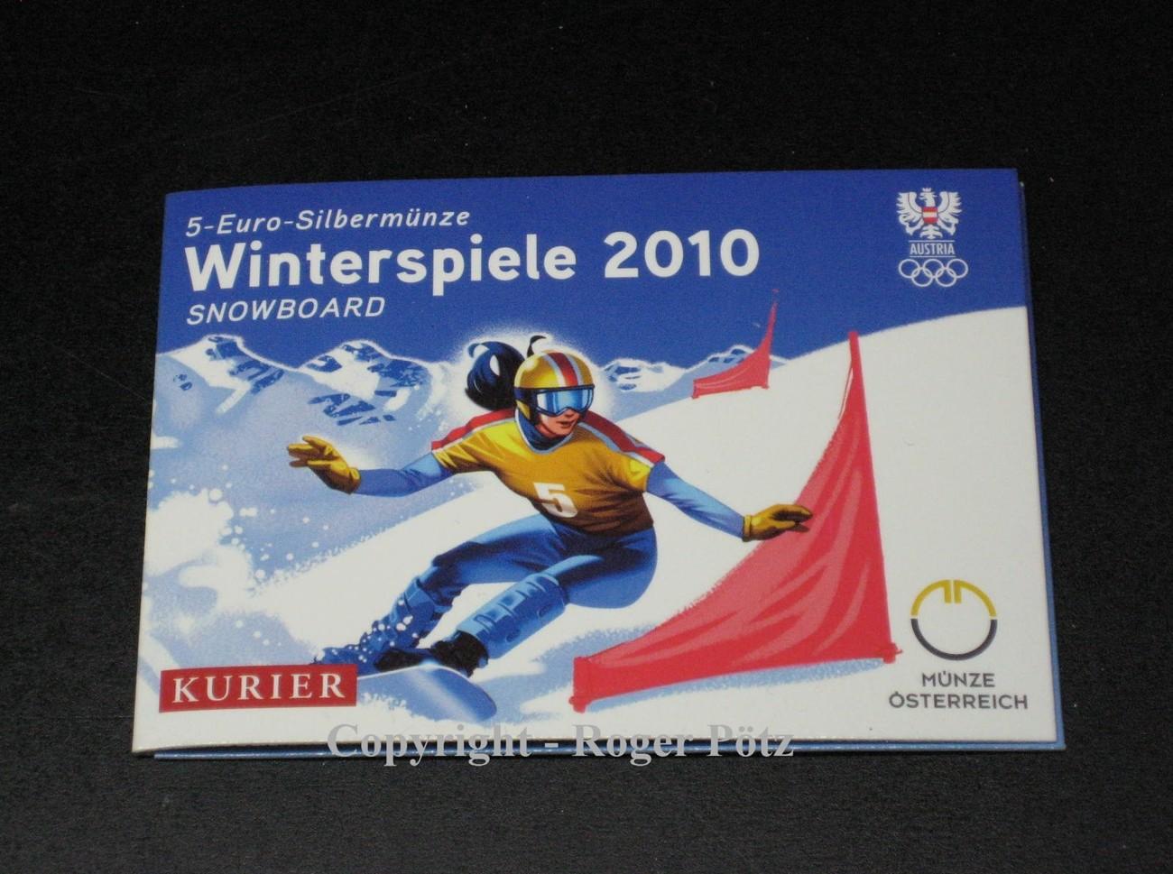 5 Euro 2010 österreich 5 Euro 2010 Winterspiele 2010 Snowboard Im