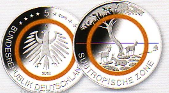 25 Euro 2018 Deutschland 5 X 5 Euro 2018 Bfr Subtropische Zone Mit