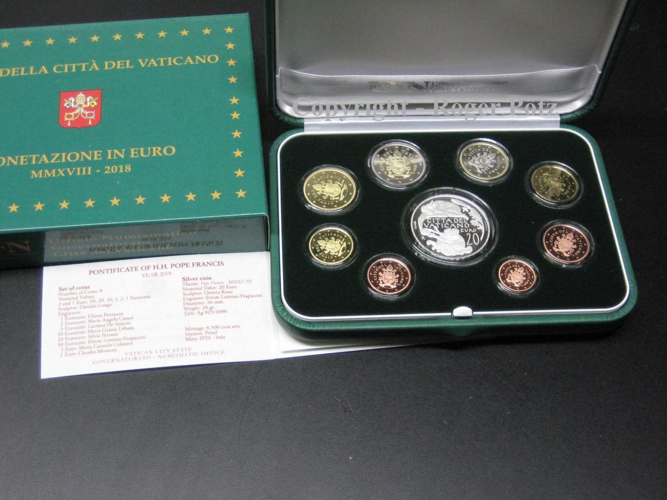 2388 Euro 2018 Vatikan 2388 Euro Kms 2018 Kursmünzensatz Pp Mit 20