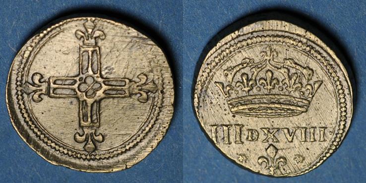 1574-1589 Henri III à Louis XIV (1643-1715). Poids monétaire du huitième d'écu TTB