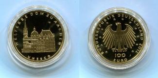 100 Euro Goldmünze 2012 J BRD Bundesrepublik Deutschland, FRG, Germany Unesco Welterbe-Dom zu Aachen Stempelglanz mit Zertifikat und Box