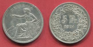 Schweiz, Switzerland 5 Franken Silber Kursmünze 18