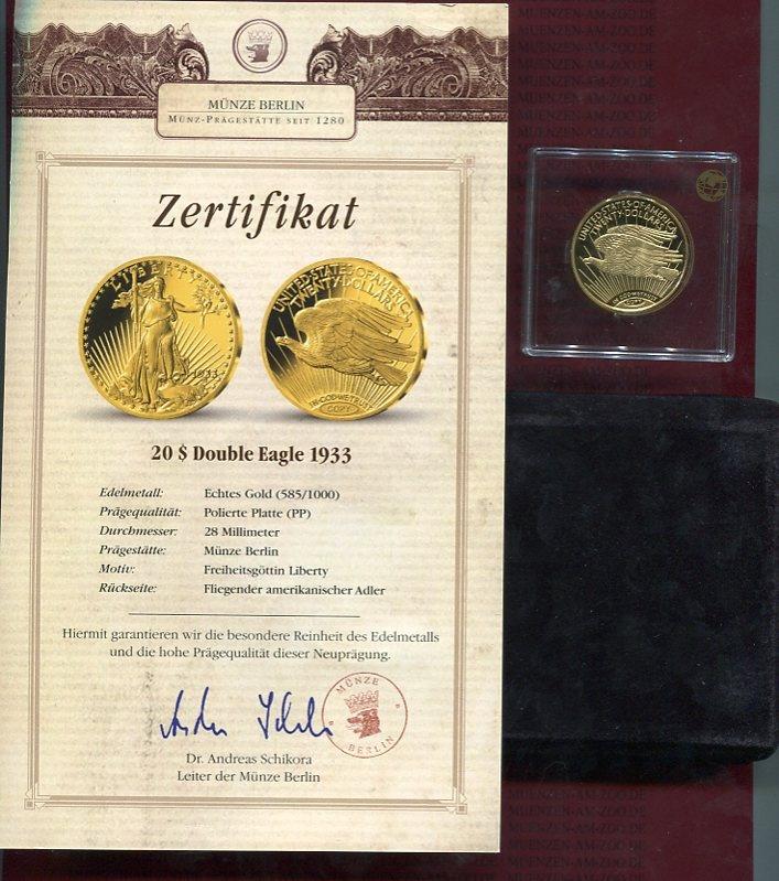 20 Dollars Double Eagle Neuprägung 1933copy Usa Neuprägung