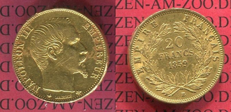 20 Francs Goldmünze Goldcoin 1859 Bb Frankreich France Napoleon Iii