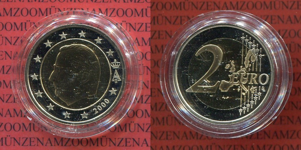 2 Euro Münze 2000 Belgien Belgien 2 Euro 2000 Bimetall Pp Proof With